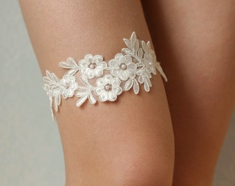 Bridal lace garter, floral beaded lace, ivory garter, richly beaded lace garter, wedding garters