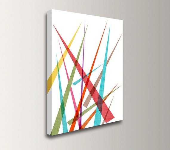 Mid century modern wall art colorful canvas art geometric for Colorful modern home decor