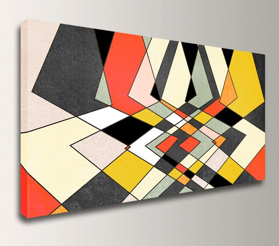 "Mid Century Modern Geometric Art - Panorama Canvas Print - Grey, Red, and Yellow Wall Decor - "" Distortion """