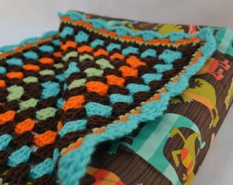 Roaring dino crochet baby blanket, reversible baby blanket, travel blanket, nursery decor, baby afghan, childrens blanket, crib bedding