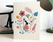 Girl and Flowers Card / Carte fille et fleurs