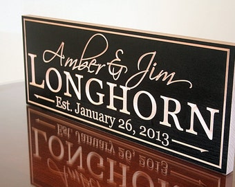 Family Name Sign, Family Established Sign, Personalized Wedding Sign, Wedding Sign, Last Name Sign, Benchmark Custom Signs Maple LH