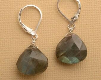 Labradorite Earrings, Gemstone Earrings, Sterling Silver, Silver Earrings, Gray Gemstone Earrings