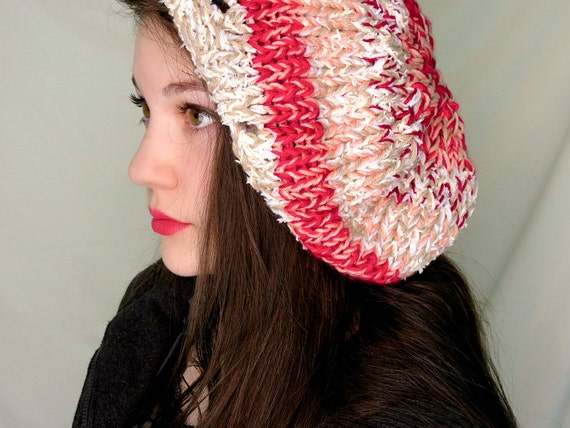 Red, Pink, and White Slouchy Hat