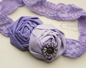 Shades of Lilac and Lavender Rosette headband, rosette headbands, lace headbands, newborn headbands, photography prop