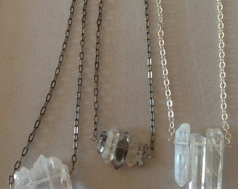 Quartz crystal necklaces on silver chain