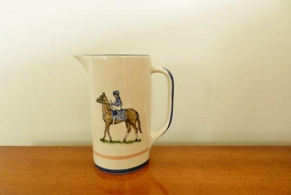 RESERVED for Matt  Vintage Louisville Stoneware Pitcher Jockey Horse Racing Equestrian Decor
