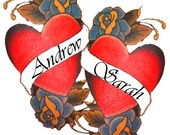 Custom Temporary Tattoo: Your names in Classic Hearts