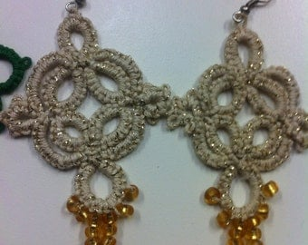 Custom Tatted thread earrings with beads