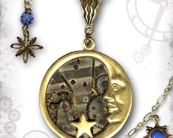 Blue Moon Steampunk Necklace - Za Dee Da Time Traveller Collection - Once in a Blue Moon