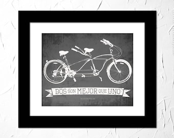 Eclesiastes 4:9, Dos son mejor que uno. Inspirational Quote Printed. Bible Verse in Spanish. Tandem Bicycle Vintage. Unframed.