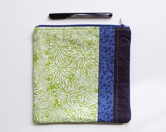 modern patchwork zippered bag - roomy bag in lime green mum patterned cotton with purple and blue colorblock - organizer