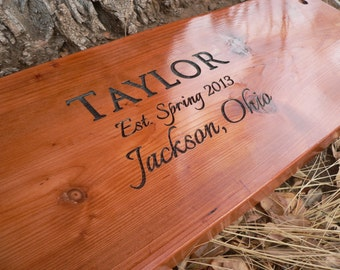 """Tree Swing Housewarming gift personalized engraved 34-36"""" for 2 people"""