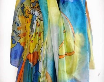 Painted silk shawl/Woman silk shawl/Blue Orchids/Luxury Silk Accessory/Painting silk/Blue Flowers/Blue silk Coverup/Orchids/made by gabyga