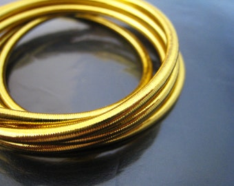 Gold - 5 Yards of 3mm Gold Metallic Round Stretch Elastic Drawcord Rope Cord