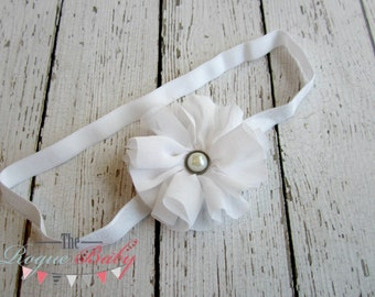 "Petite White Baby Headband -  Photo Prop - Newborn Infant Baby Toddler Girls Chiffon 3/8"" with Antique Pearl Center"