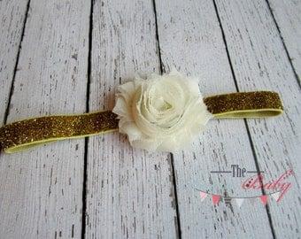 Ivory / Cream & Gold Glitter Headband -  Photo Prop - Newborn Infant Baby Toddler Girls Adult