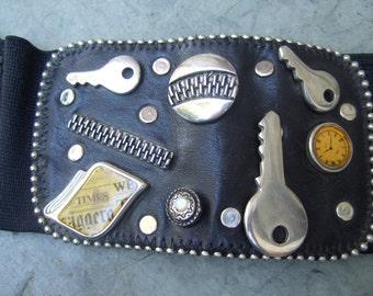 Unique Belt Embellished with Keys Zippers Grommets c 1980