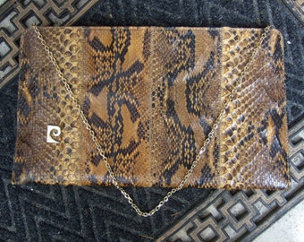 PIERRE CARDIN Exotic Python Reptile Clutch Style Bag c 1970