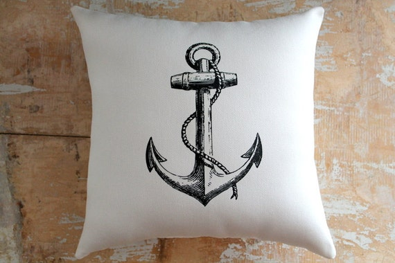 Nautical Pillow, Black Anchor, Ocean, Beach Decor, Cottage Decor, Home Decor, Decorative Pillow, Housewares