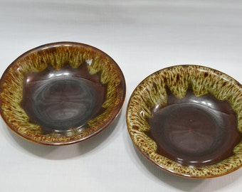 Vintage Brown Drip Bowl - set of 2