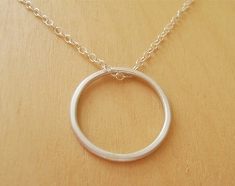 Mini Silver Circle Necklace - Sterling Silver