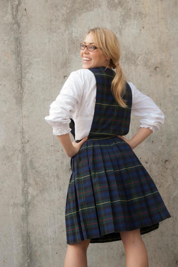 Vintage Plaid Dress School Girl Uniform Pleated Tartan