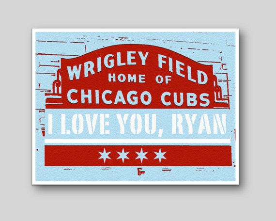 Personalized 'I Love You' Card - Chicago Cubs - Wrigley Field Stadium Sign