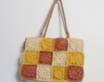 Vtg Nine West Crocheted Paper Granny Squares Patchwork Purse - Green Bag  - Boho, Hippie Purse Tote