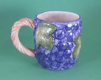 Vintage Grapevine Mug,  Fitz and Floyd, Grape Arbor, Grapevine Handle, Embossed Grapes, Ceramic
