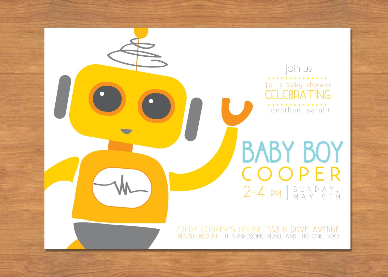 robot baby boy shower invitation by bisforbrown on etsy