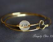 Personalized Bangle Bracelet,Custom Letter and Open Heart Bangle set,  Initial Bracelet, Hand Stamped Bracelet