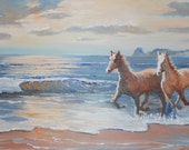 RESERVED for Guy, Two Horses Wild and Free, Horses, Ocean Sundown Beach Two Horses Running, Framed, 29.5, 16, Dan Leasure Oils