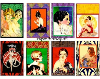 Art DECO Gatsby Vintage FLAPPERS Vibrant Colored Tags for Cards, Scrapbooks, ATC, Altered Art, Journals