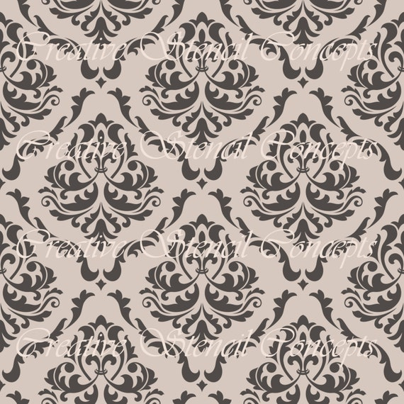 Seamless Floral Damask Stencil MULTIPLE SIZES AVAILABLE on Industry Standard 12 Mil  Mylar Design 105469619