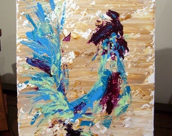 Abstract Rooster - original acrylic painting on canvas