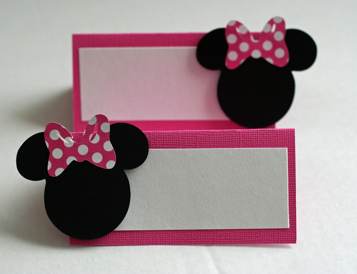 12 pink minnie mouse inspired placecards  food table cards