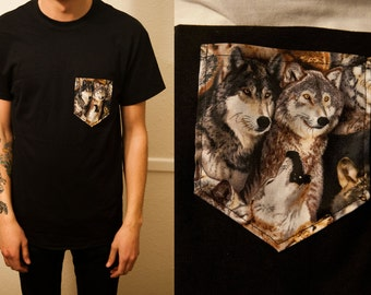 Wolves with howl allover pocket shirt S/M/L/XL/2x/3x