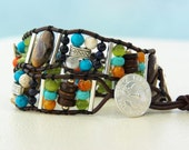 EARTH, WIND and FIRE... Leather wrap bracelet.... Double wrap earth, wind and fire. Original OceanBead style.