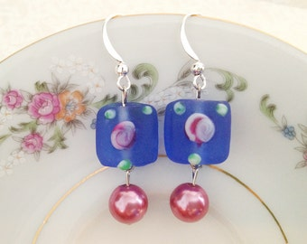 Blue Frosted Glass Dangle Earrings. Rosettes. Roses. Pink Pearls. Dainty. Under 20. Romantic. Silver Hooks. Square. Glass.