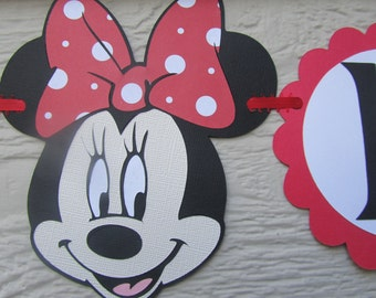 Minnie Mouse Red or Pink Polka Dot Happy Birthday Party Banner Garland Can be Personalized With Name or Color Choice