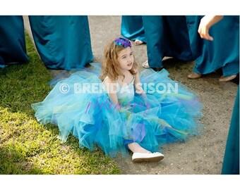 Toddler Long TUTU - 2T 3T 4T - Long Tutu Skirt - Aqua Tutu - PEACOCK - Wedding - Ballet - Photo Shoot - Flower Girl - Bridesmaid