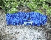 Upcycled Steampunk Clothing, Wedding Garter, Something Blue, Royal Blue Satin (with Mini Blue Bow)