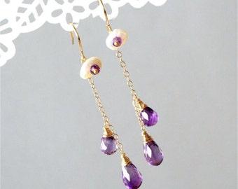 February Birthstone. Gemstone Earrings, Brazilian Amethyst Drop Briolette, Rondelle, White Keshi Pearls, Gold-filled Wire and Earwires. E173