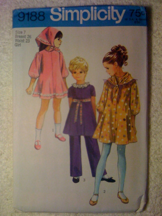 Simplicity 70s Sewing Pattern 9188 Girls Dress, Scarf and Pants Size 7