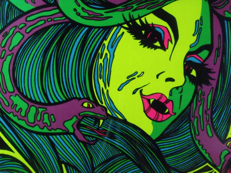 Vintage Blacklight Poster 1976 Medusa Psychedelic Original