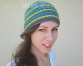 Crochet Adult Beanie- Striped Womens/ Mens Crochet Beanie