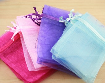 24 Organza Bags - assorted colors shown or pick your quanties from the colors shown, 3X4 size, satin drawstring