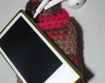 OOAK Ipod Nano Cosy Pouch with Earphone Pocket - Ready To Ship