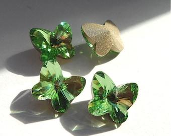 4 Peridot 10mm Swarovski Butterfly Rhinestones-Loose Green Butterfly Rhinestones-Wholesale Peridot Rhinestones